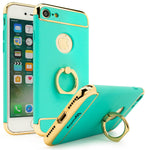 iPhone 7 Bastex Gold Accent Hard Teal Case with Silver Ring Holder / Kickstand - BastexShop