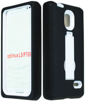 LG Optimus L9 Kickstand Hybrid White  Case  Black Silicone Gel Cover - BastexShop
