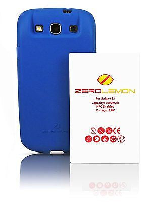 ZeroLemon Samsung Galaxy S3 7000mah Extended Battery +BLUE TPU Full Edge Case - BastexShop