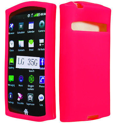LG Optimus Logic L35g Straight Talk Pink Silicone Rubberized Case Cover - BastexShop