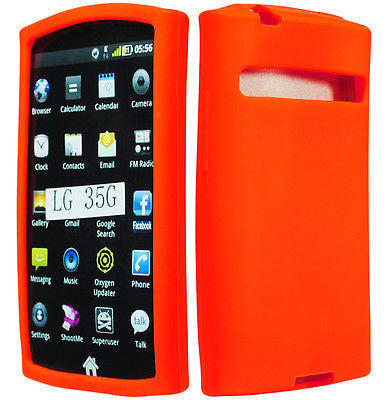 LG Optimus Logic L35g Straight Talk Orange Silicone Rubberized Case Cover - BastexShop