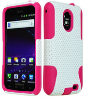Hybrid Mesh  White Case  Pink Silicone  Samsung Epic 4G Touch D710 S2 - BastexShop