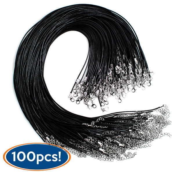 100pc Waxed Necklace Cords (Black) - BastexShop