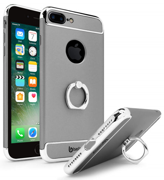 iPhone 7 Plus Bastex Silver Accent Grey with Gold Ring Holder / Kickstand