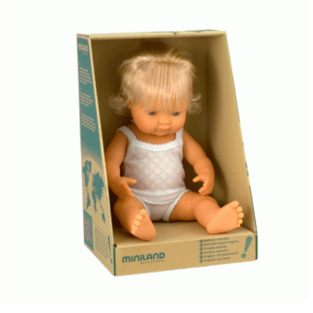 Miniland - 38cm Caucasian Baby Doll Girl - Rourke & Henry Kids Boutique