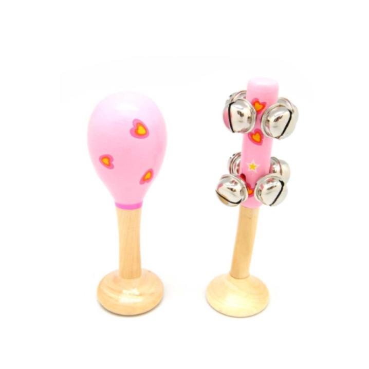 Maraca & Bell Set Small - Pink Hearts - Rourke & Henry Kids Boutique