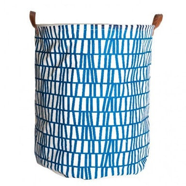 Canvas Storage Basket - Blue Lines - Rourke & Henry Kids Boutique