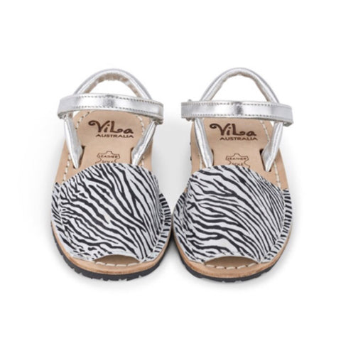 Vila Spanish Sandal - Zebra Print Leather