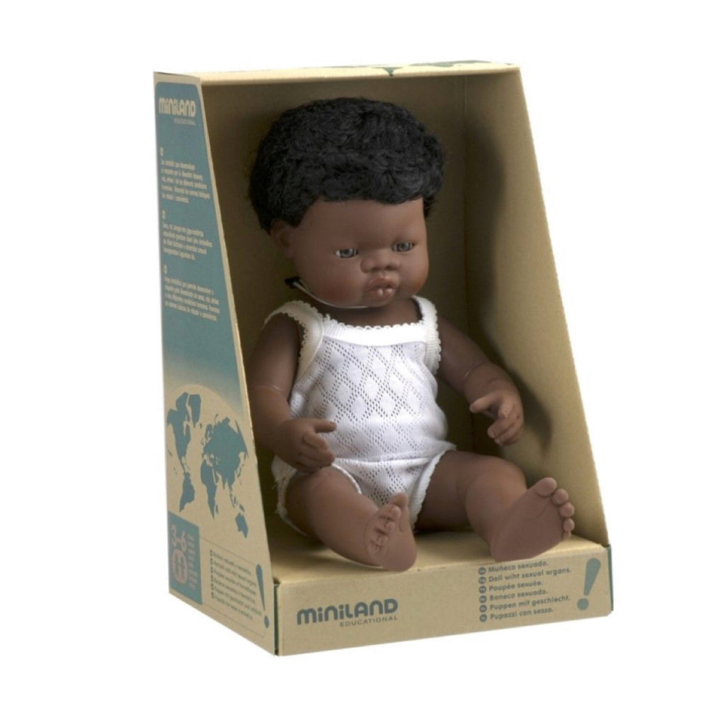Miniland - 38cm African Baby Doll Boy - Rourke & Henry Kids Boutique