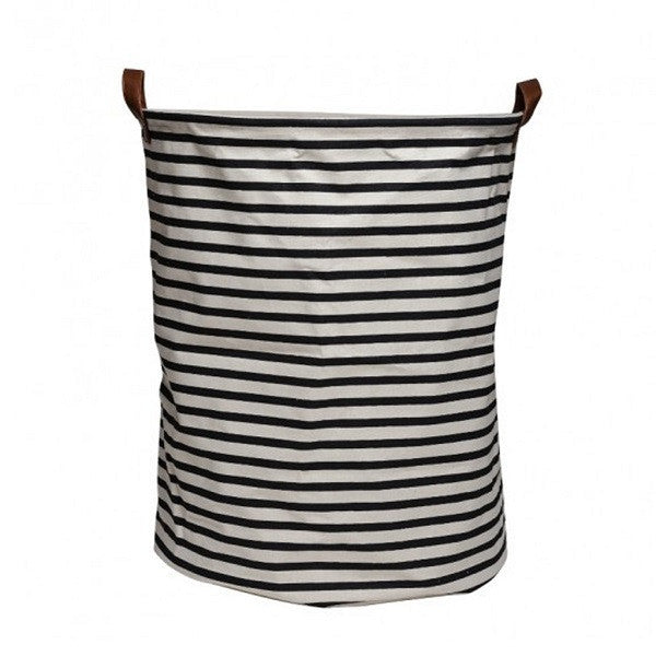 Canvas Storage Basket - Black Stripe - Rourke & Henry Kids Boutique