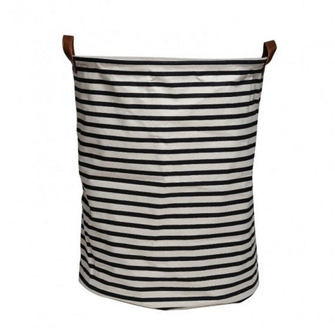 Canvas Storage Basket - Black Stripe