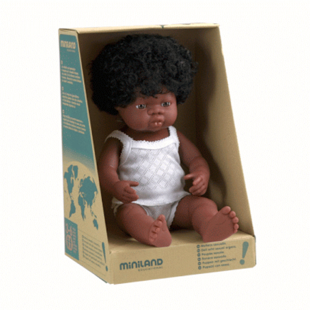 Miniland - 38cm African Baby Doll Girl - Rourke & Henry Kids Boutique
