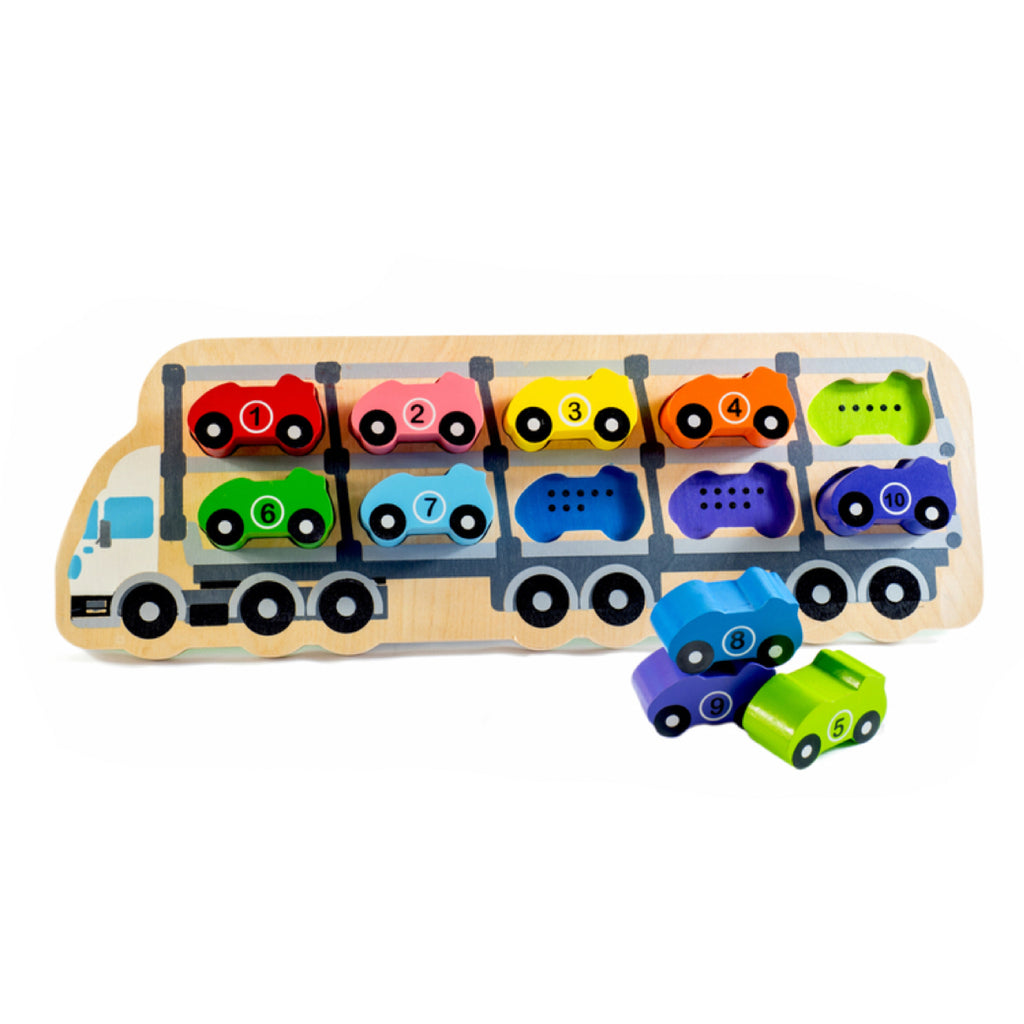 Wooden Car Number Puzzle - Rourke & Henry Kids Boutique