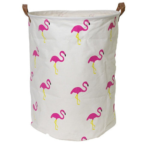 Canvas Storage Basket - Flamingo