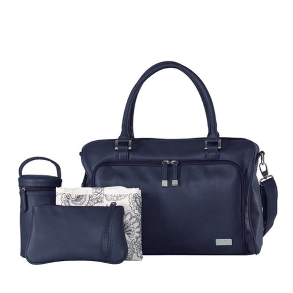 Isoki Nappy Bag Double Zip Satchel - Esperance Navy - Rourke & Henry Kids Boutique