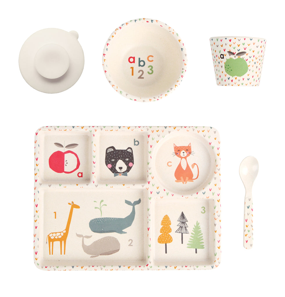 Love Mae - Bamboo Dinnerware 5 piece set ABC 123 - Rourke & Henry Kids Boutique