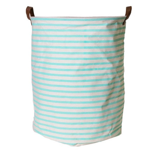 Canvas Storage Basket - Mint Stripe - Rourke & Henry Kids Boutique