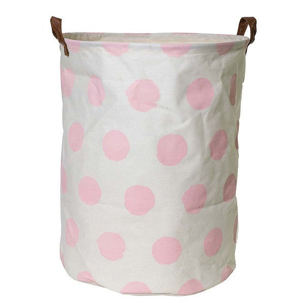Canvas Storage Basket - Pink Spot - Rourke & Henry Kids Boutique