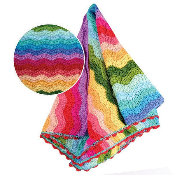 Rainbow Crotchet Ripple Blanket - Rourke & Henry Kids Boutique
