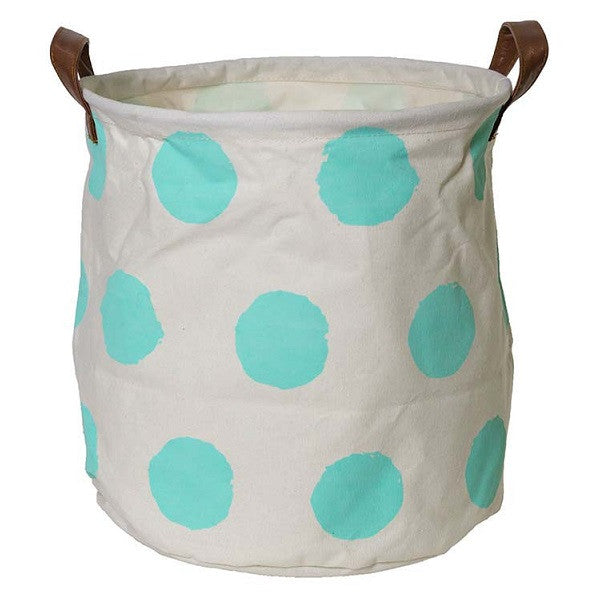 Canvas Storage Basket Small - Mint Spot - Rourke & Henry Kids Boutique