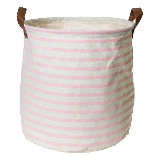 Canvas Storage Basket Small - Pink Stripe - Rourke & Henry Kids Boutique