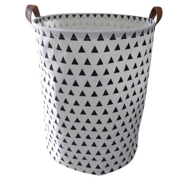 Canvas Storage Basket - Black Triangles - Rourke & Henry Kids Boutique