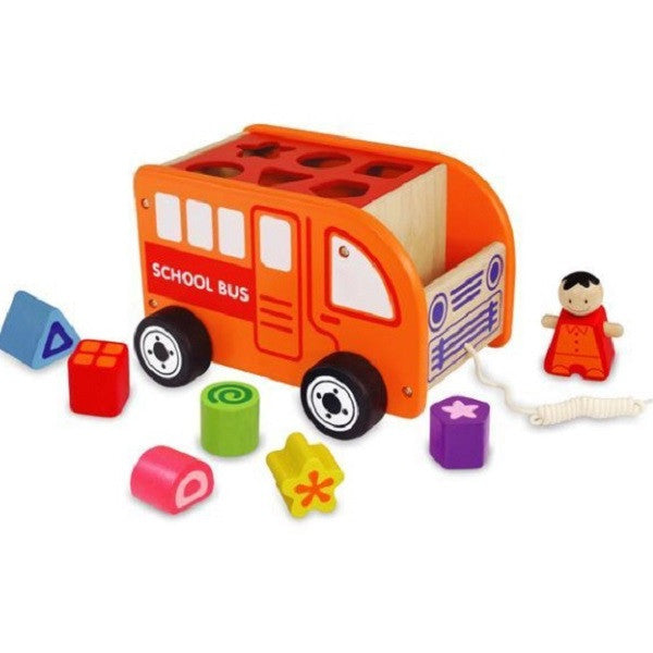 Wooden Pull Along Sorting School Bus - Rourke & Henry Kids Boutique