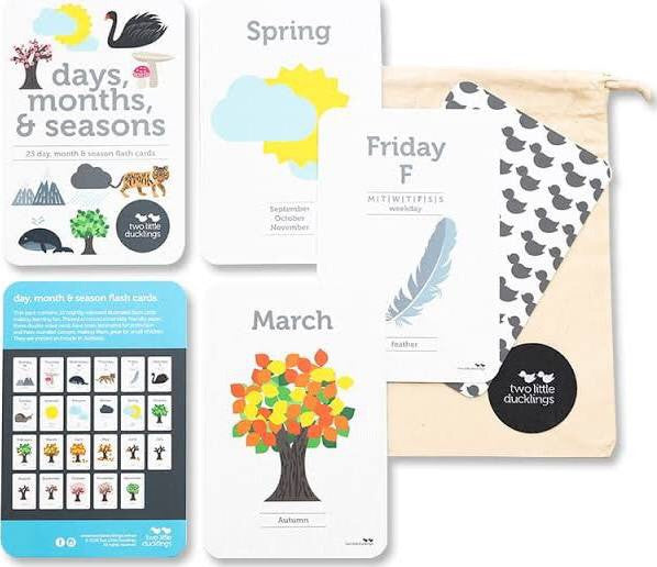 Two Little Ducklings Flash Cards - Days, Months & Seasons - Rourke & Henry Kids Boutique