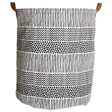 Canvas Storage Basket - Black/White Norway - Rourke & Henry Kids Boutique