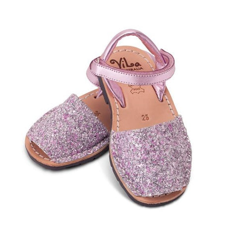 Vila Spanish Sandal - Glitter Pink Leather