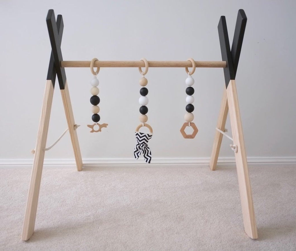 EMB Creations - Wooden Play Gym Black - Rourke & Henry Kids Boutique