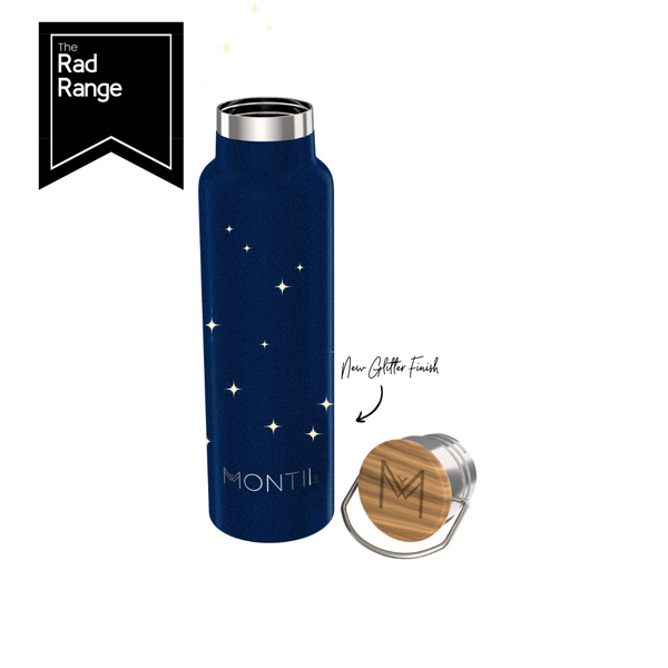 MontiiCo Insulated Drink Bottle - 600ml Midnight Glitter - Rourke & Henry Kids Boutique
