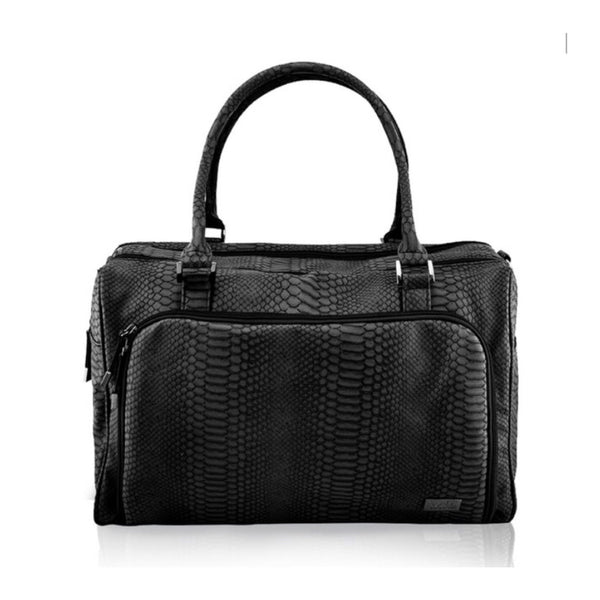 Isoki Nappy Bag Double Zip Satchel - Black Mumba - Rourke & Henry Kids Boutique