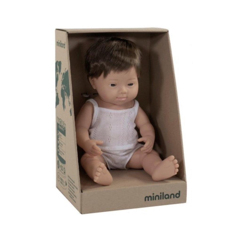 Miniland - 38cm Caucasian Baby Doll Down Syndrome Boy