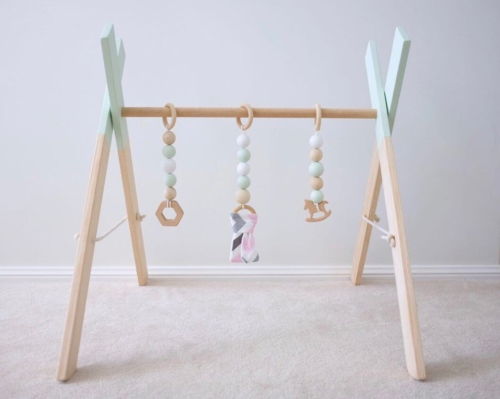 EMB Creations - Wooden Play Gym Mint - Rourke & Henry Kids Boutique
