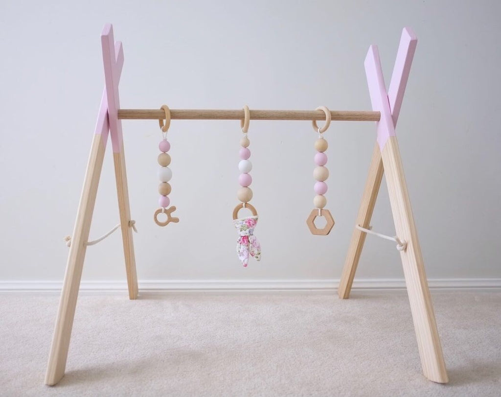 EMB Creations - Wooden Play Gym Soft Pink - Rourke & Henry Kids Boutique