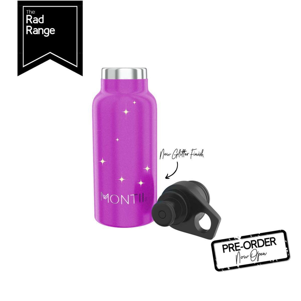 MontiiCo Insulated Drink Bottle - Mini 350ml Glitter Magenta - Rourke & Henry Kids Boutique