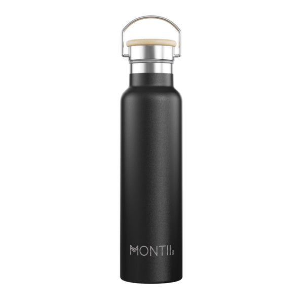 MontiiCo Insulated Drink Bottle - 1 litre Mega Montii Black - Rourke & Henry Kids Boutique
