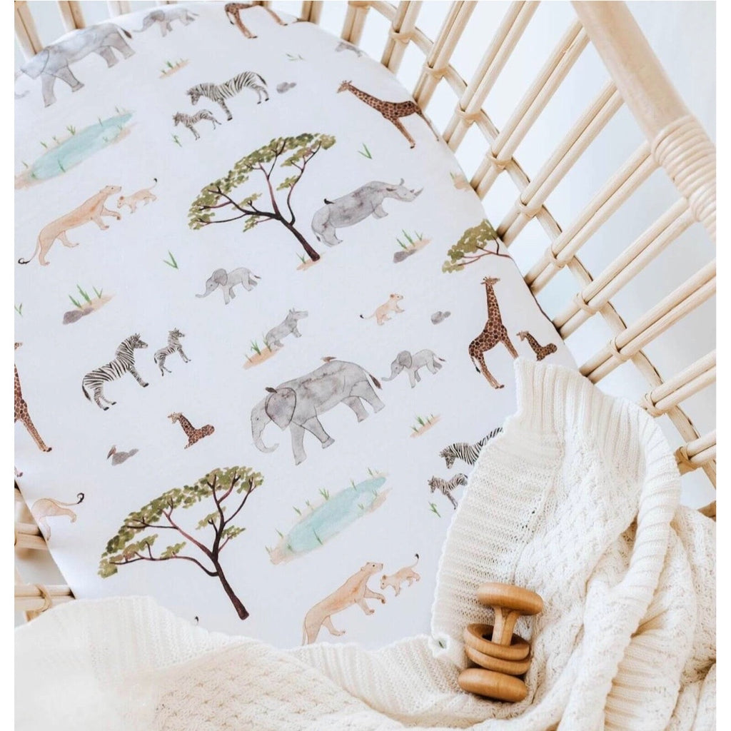 Snuggle Hunny Kids - Bassinet Sheet/Change Mat Cover Safari