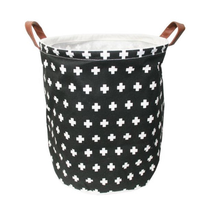 Canvas Storage Basket Small - Swiss Cross Black - Rourke & Henry Kids Boutique