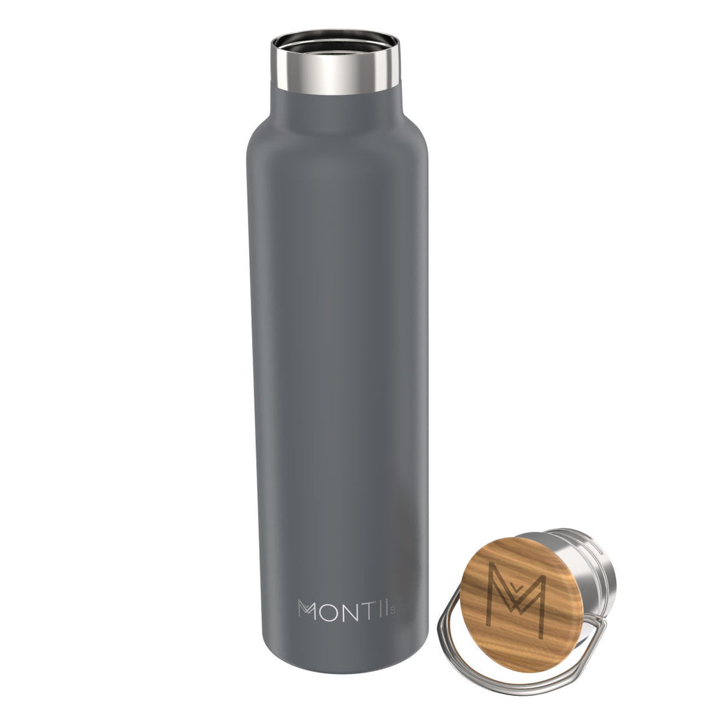 MontiiCo Insulated Drink Bottle - 1 litre Mega Montii Grey