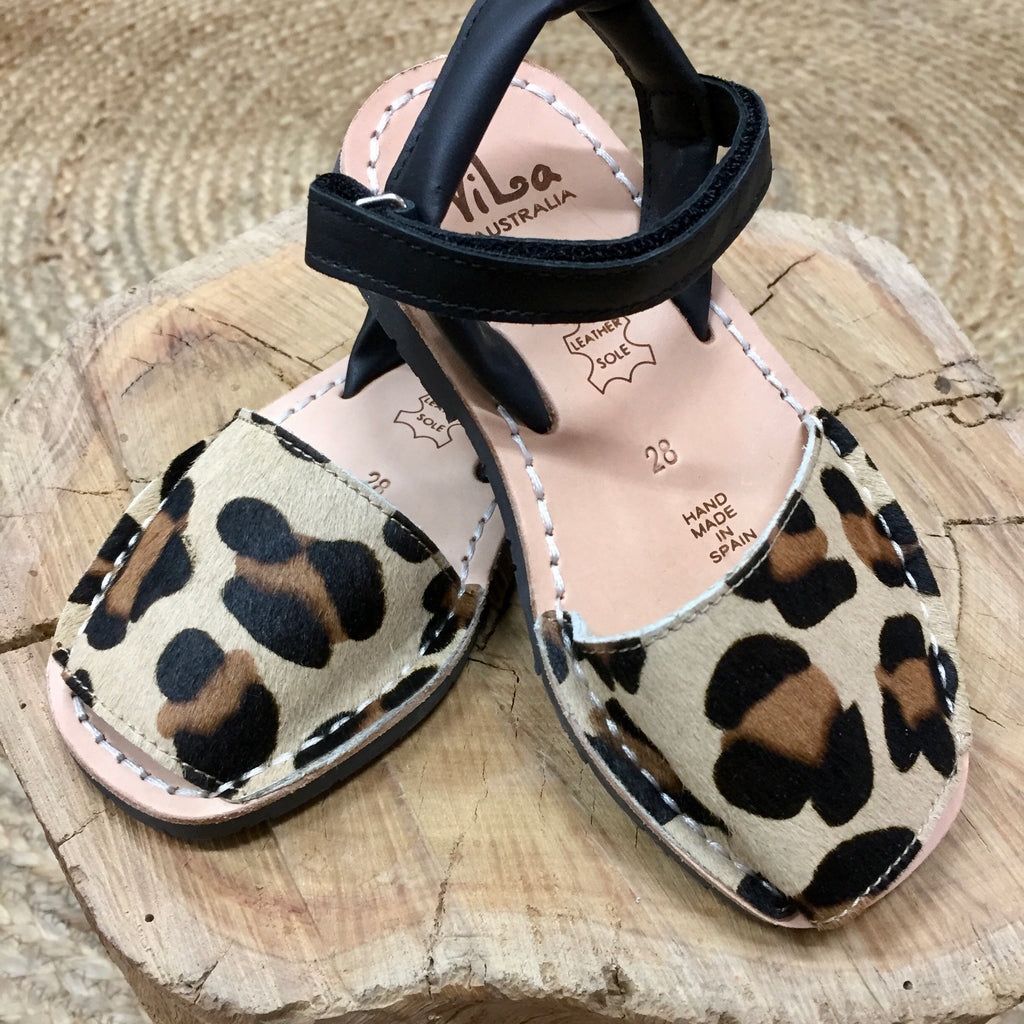 Vila Spanish Sandal - Somali Leopard Leather - Rourke & Henry Kids Boutique