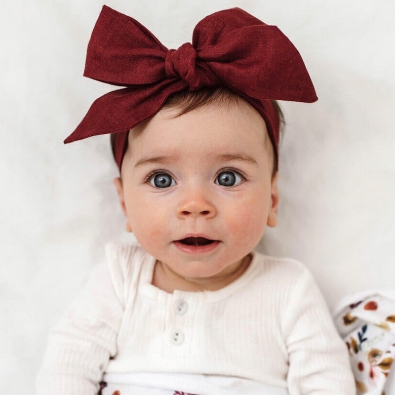 Snuggle Hunny Kids - Pre-tied Linen Bow Headband Burgundy