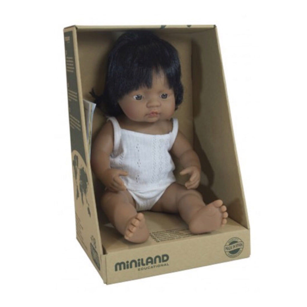 Miniland - 38cm Hispanic Baby Doll Girl