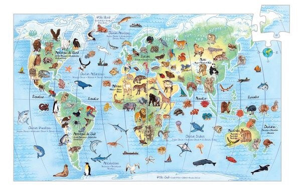 Djeco Puzzle - Animal World 100 piece - Rourke & Henry Kids Boutique