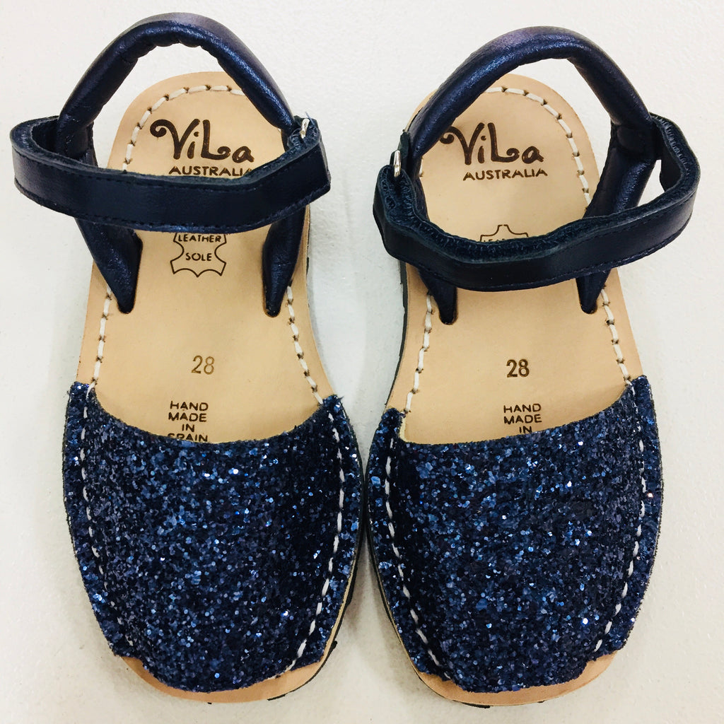 Vila Spanish Sandal - Glitter Dark Blue Leather