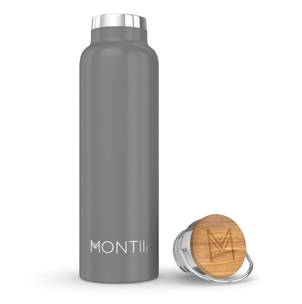 MontiiCo Insulated Drink Bottle - 600ml Grey - Rourke & Henry Kids Boutique