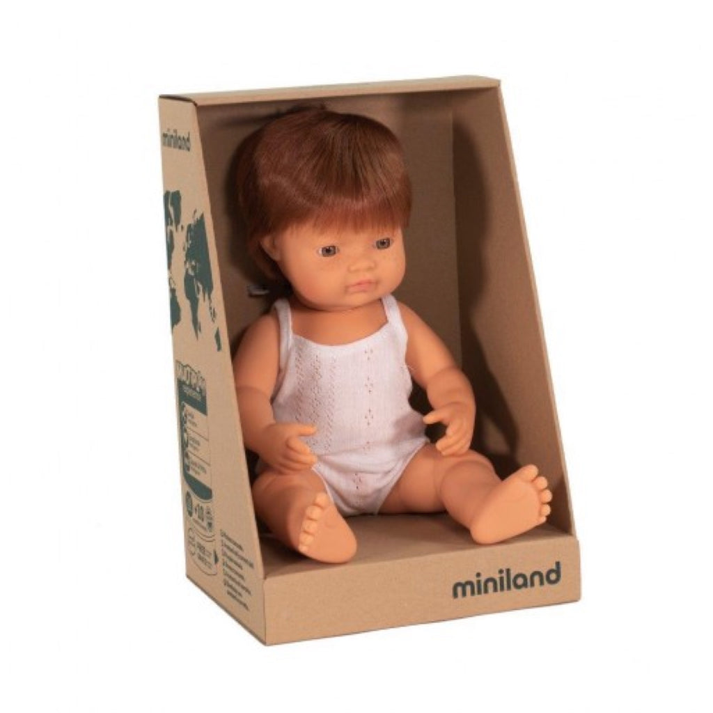 Miniland - 38cm Caucasian Baby Doll Boy Red Hair