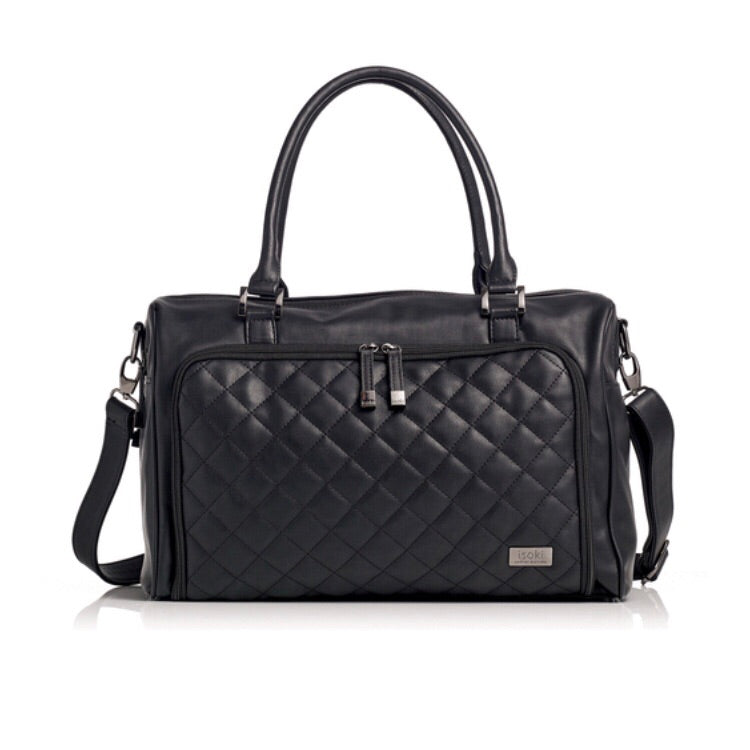 Isoki Nappy Bag Double Zip Satchel - Quilted Black - Rourke & Henry Kids Boutique