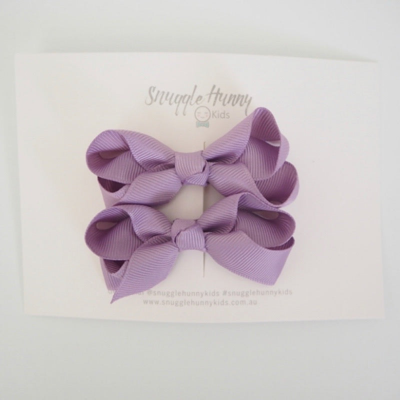 Snuggle Hunny Kids - Clip Bow Small Piggy Tail Pair Lilac